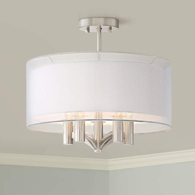 "Caliari 18"" Wide Brushed Nickel 5-Light Ceiling Light"