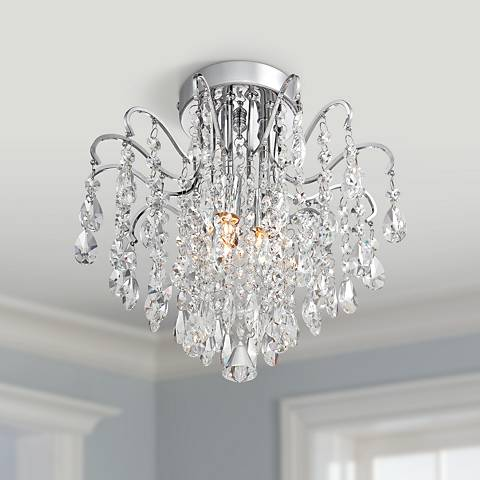 "Acryllis 11 3/4"" Wide 3-Light Chrome Ceiling Fixture"