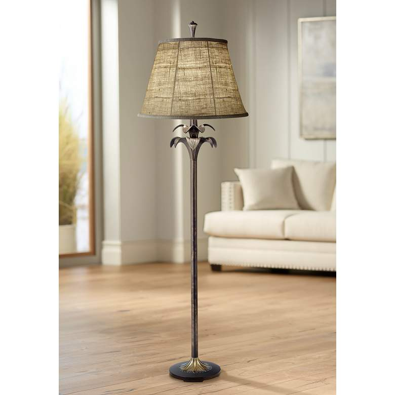 Stiffel Natural Burlap Bombay Bronze Floor Lamp