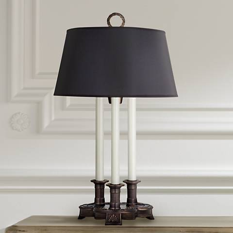 Stiffel Square Shell Antique Old Bronze Desk Lamp