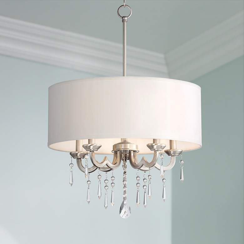 "Georgiana 20 1/4"" Wide Off-White Drum Shade Chandelier"