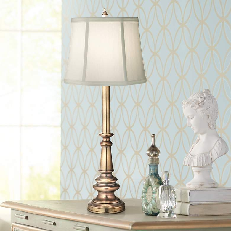 Stiffel Ivory Shadow Antique Brass Table Lamp