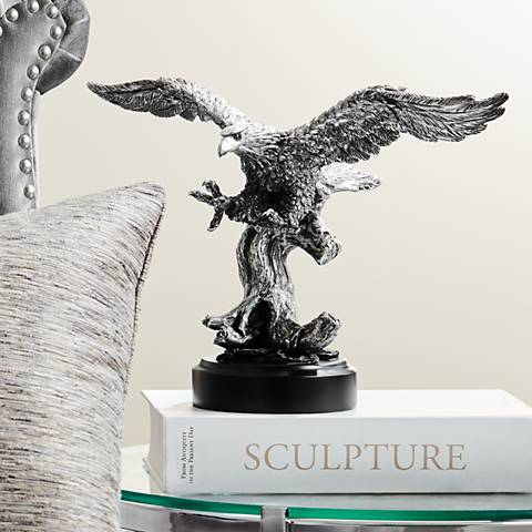 "Splendor Pewter Winged Eagle 15"" Wide Sculpture"