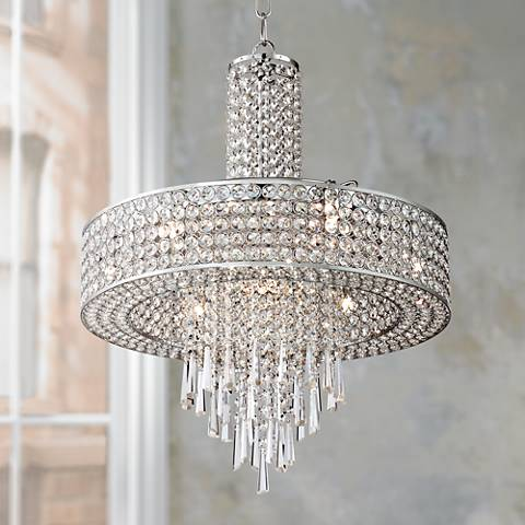 Crystal cascade 19 3 4 wide crystal pendant chandelier
