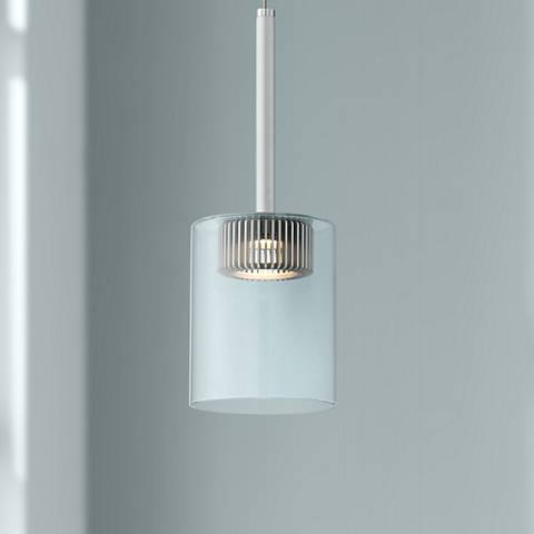 "Possini Euro Mucci 4 3/4""W Clear Glass Cylinder Mini Pendant"
