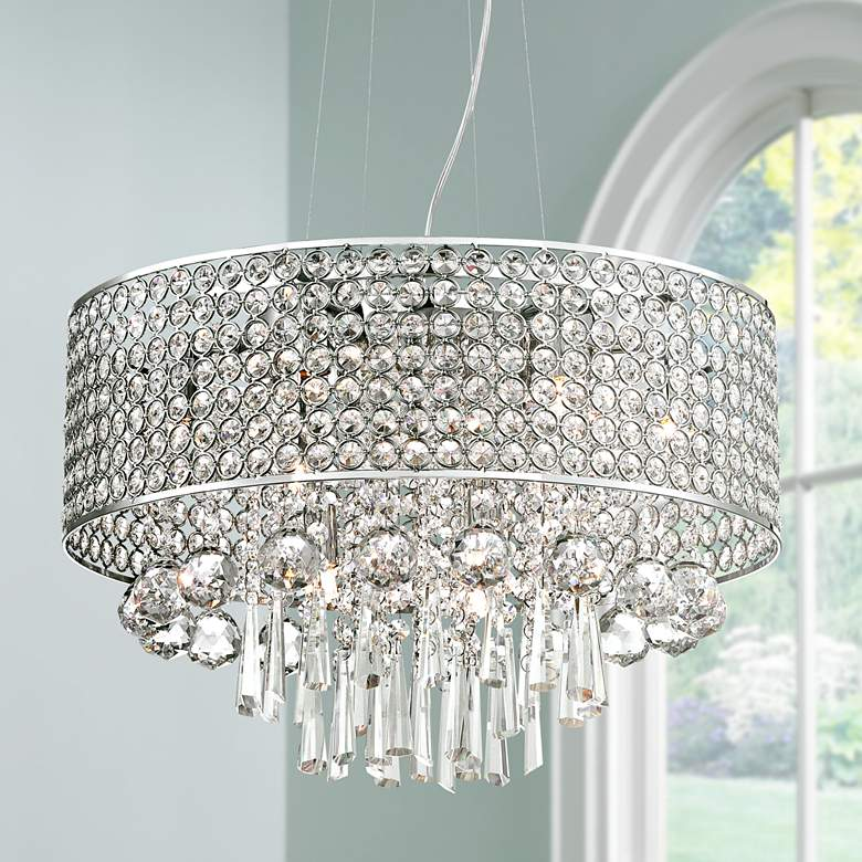 "Elva Chrome 19"" Wide Beaded Crystal Pendant Light"