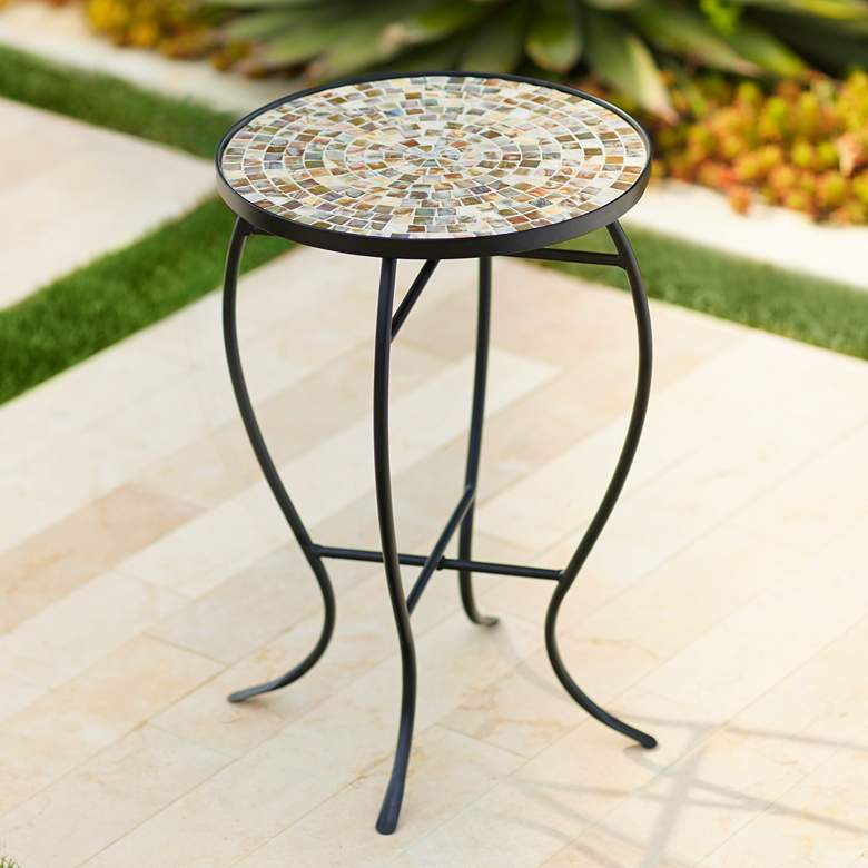 Mother of Pearl Mosaic Black Iron Outdoor Accent Table