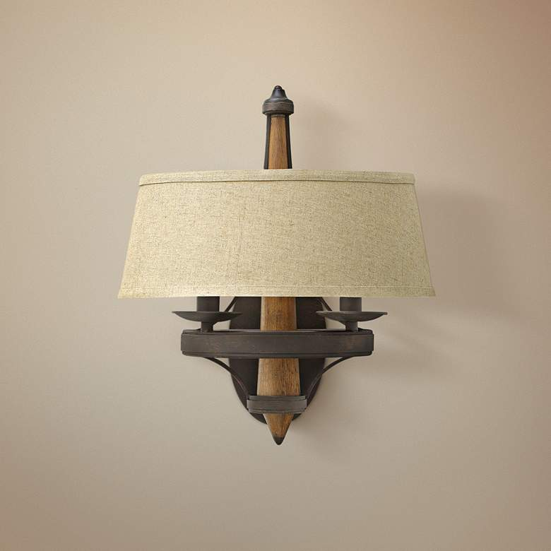 "Bastille 16 1/4"" High Vintage Bronze Wall Sconce"