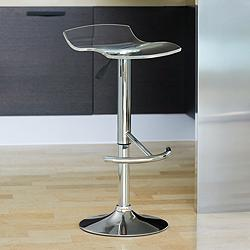 California Clear Acrylic Adjustable Swivel Bar Stool