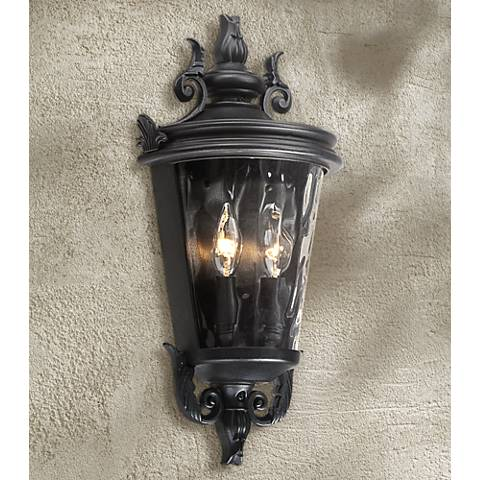"Casa Marseille 17"" High Textured Black Outdoor Wall Light"