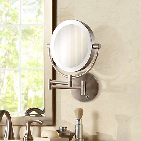 Satin Nickel Cordless Led Lighted Wall Mounted Mirror