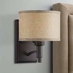 "La Pointe 9"" High Oatmeal Linen Shade Wall Sconce"