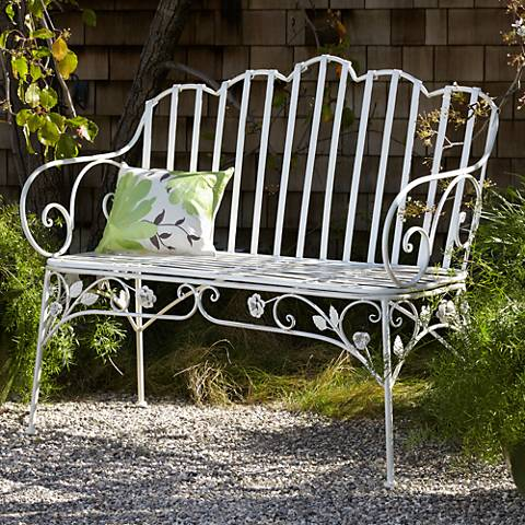 Ivy Scroll Antique White Iron Outdoor Bench