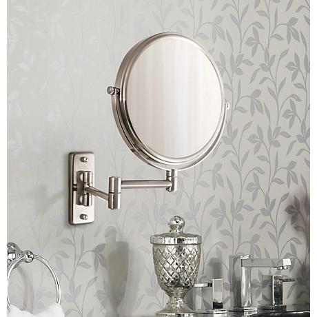 satin nickel mirror satin nickel wall mounted dual jointed mirror 6h266 2104
