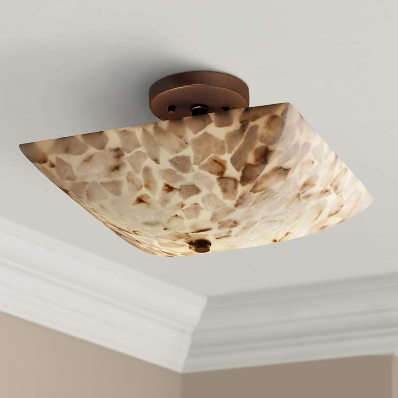 "Justice Lumenaria 14""W Alabaster Rocks Square Ceiling Light"