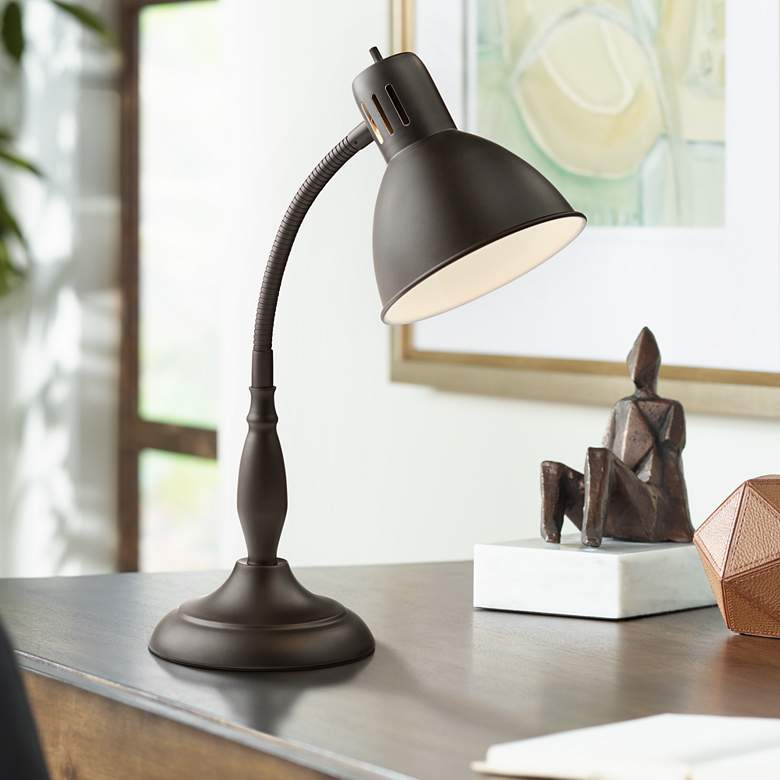 Breck Dark Bronze Gooseneck Desk Lamp