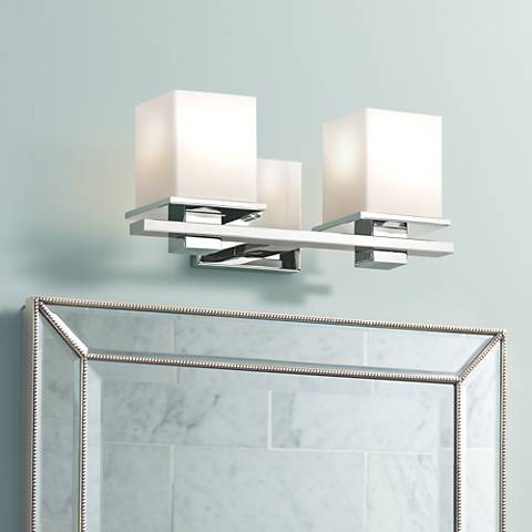 "Kichler Tully 15"" Wide Chrome Opal 2-Light Bath Sconce"