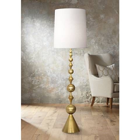 Harlequin floor lamp in antique brass by jonathan adler 6j670 lamps plus