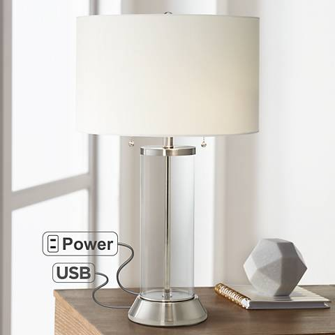 Fritz Glass Column Table Lamp With Usb Port And Utility