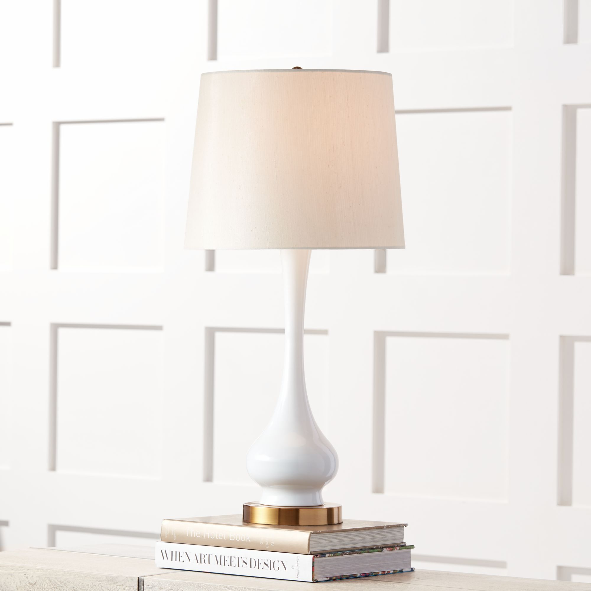 Attractive Lula White And Brass Gourd Table Lamp