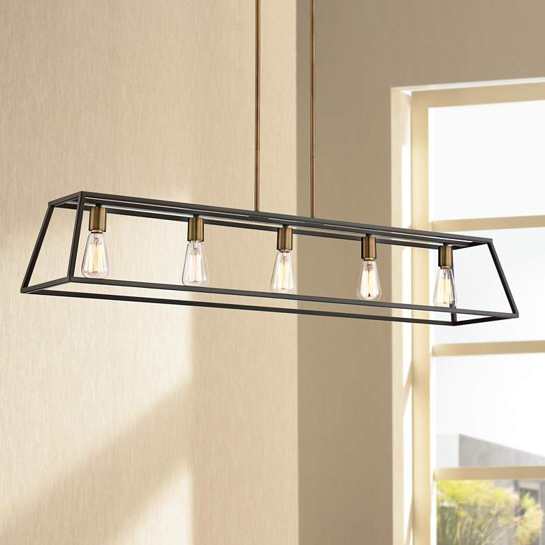 "Hinkley Fulton 50"" Wide Bronze Island Linear Chandelier"