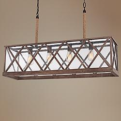 "Lumiere 26"" Wide Weathered Oak Kitchen Island Light Pendant"