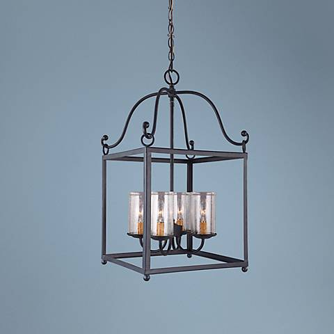 "Feiss Declaration 14 3/4"" Wide Forged Iron Pendant Light"