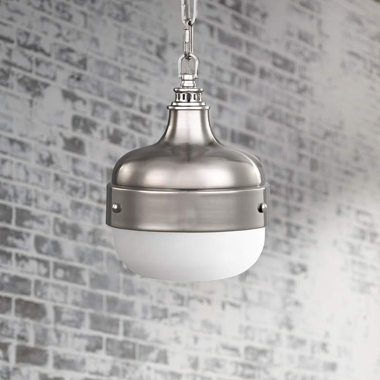 "Feiss Cadence 8"" Wide Polished Nickel Mini Pendant"