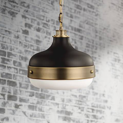 Feiss Cadence 13 Wide Antique Br Mini Pendant Light