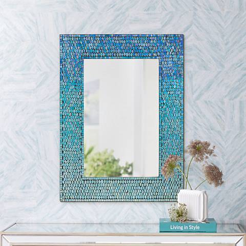 "Catarina Tropical Sea Blue 23"" x 31"" Mosaic Wall Mirror"