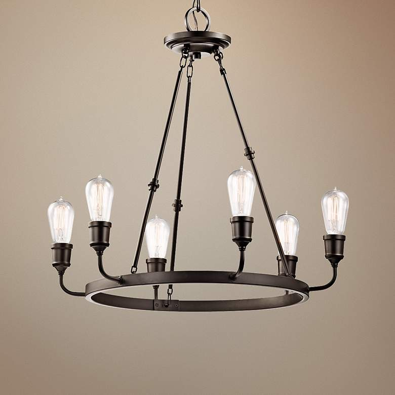 "Kichler Lucien 25 1/4"" Wide Old Bronze 6-Light Chandelier"