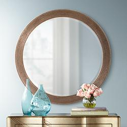 "Howard Elliott Virginia Silver Leaf 36"" Round Wall Mirror"