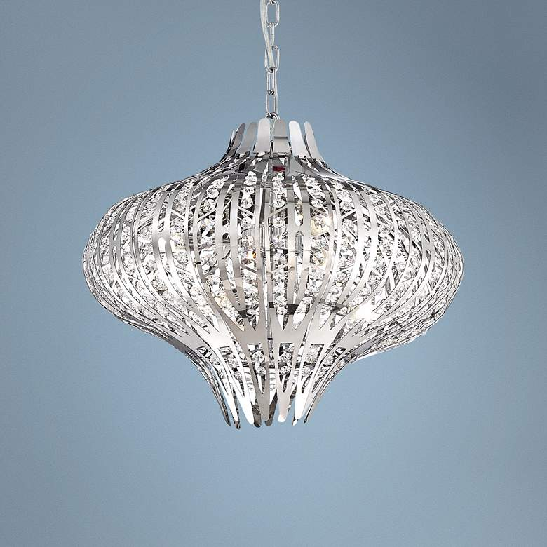 "Eurofase Monica 19 1/2"" Wide 6-Light Chrome Chandelier"