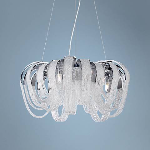 "Eurofase Sage 25"" Wide 5-Light Chrome Chandelier"