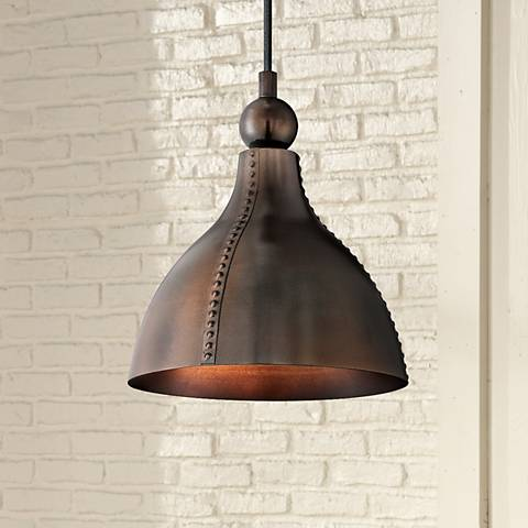 "Quoizel Gaston 9"" Wide Mottled Bronze Mini Pendant"