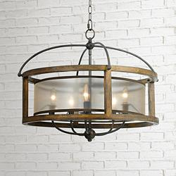 "Mission 26"" Wide Wood 5-Light Pendant Chandelier"
