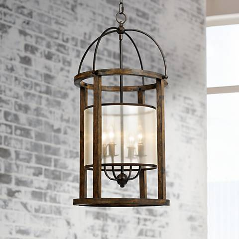 "Mission 16"" Wide Wood Round 4-Light Pendant Chandelier"