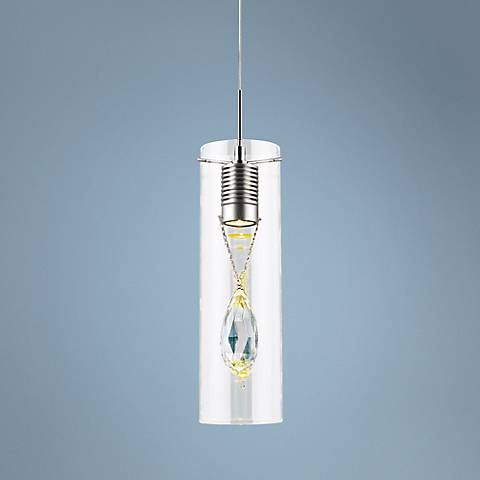 "Cylindra 4 3/4"" Wide Chrome Prism Crystal LED Mini Pendant"