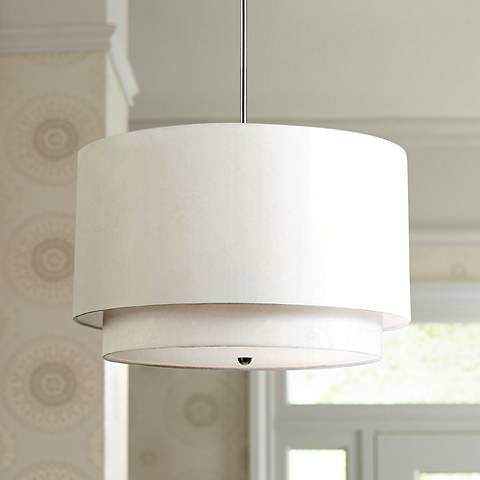 "Rondin 18"" Wide Brushed Nickel White 3-Light Pendant"