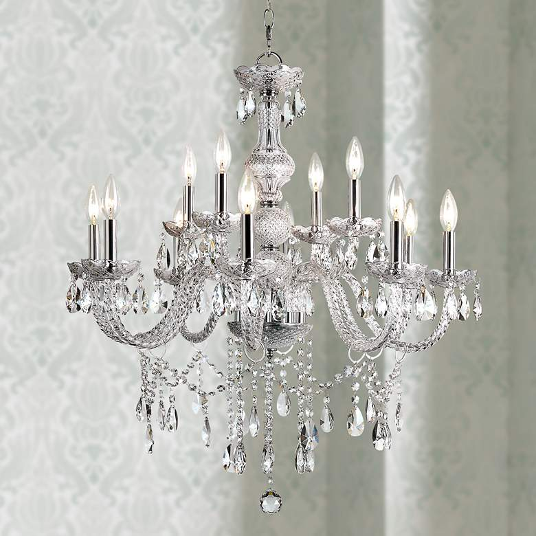 "Brindisi 29"" Wide Polished Chrome 12-Light Chandelier"