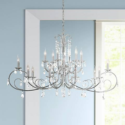 "Miika 50"" Wide Polished Chrome 18-Light Chandelier"