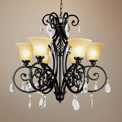 "Bavarre 30"" Wide Dark Bronze Metal 6-Light Chandelier"