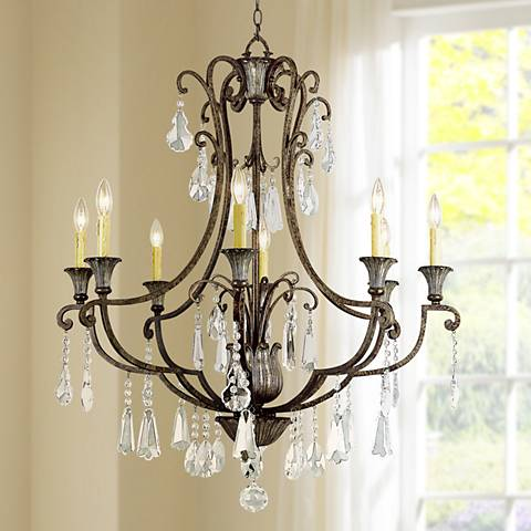 "Bonne 34"" Wide Antique Bronze Metal 8-Light Chandelier"