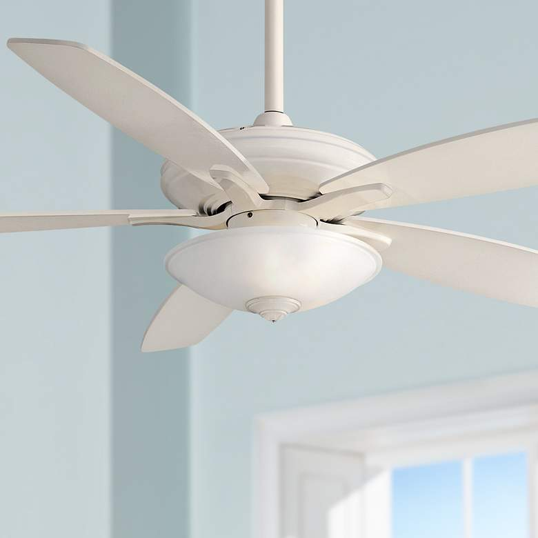 "52""  Mojo Frosted White Glass - Bone White Ceiling Fan"