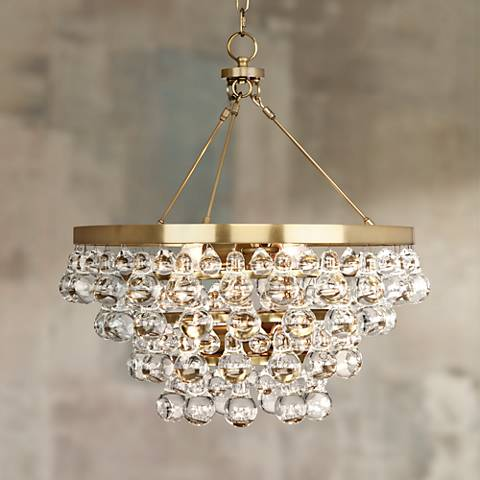 "Bling 20 1/2"" Wide Antique Brass Glass Chandelier"
