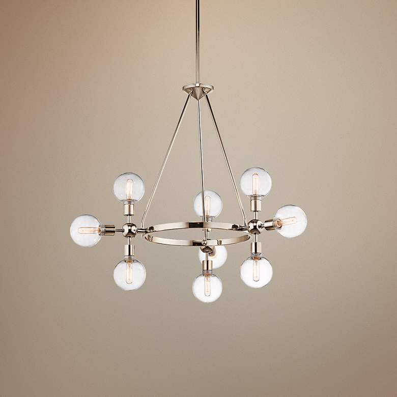 "Kichler Garim 33 1/2"" Wide Nickel 9-Light Cluster Pendant"