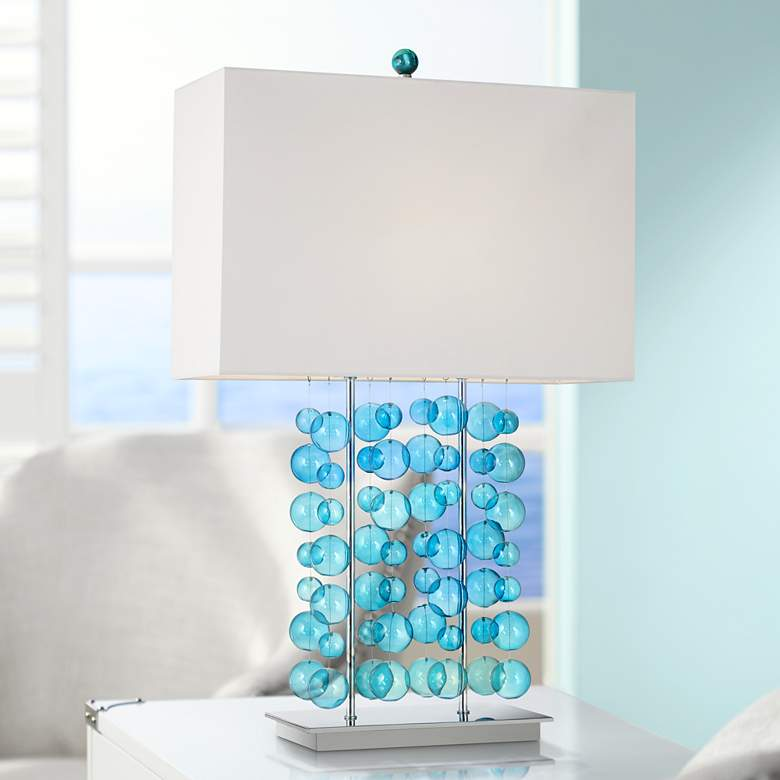 Possini Euro Design Blue Bubble Cascade Table Lamp