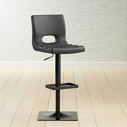 Donovan Black Faux Leather Adjustable Swivel Barstool