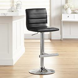 Motivo Black Faux Leather Adjustable Swivel Bar Stool