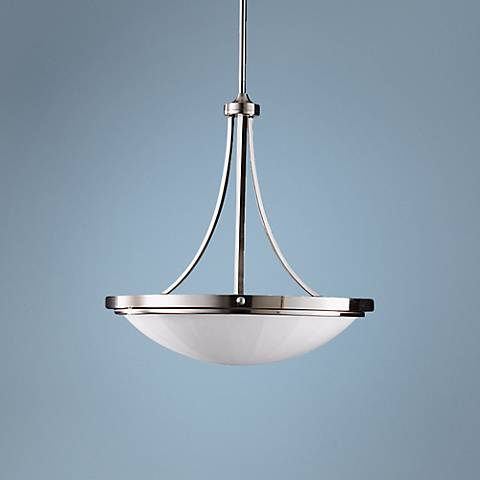 "Feiss Perry 22 3/4""W Brushed Steel Bowl Chandelier"